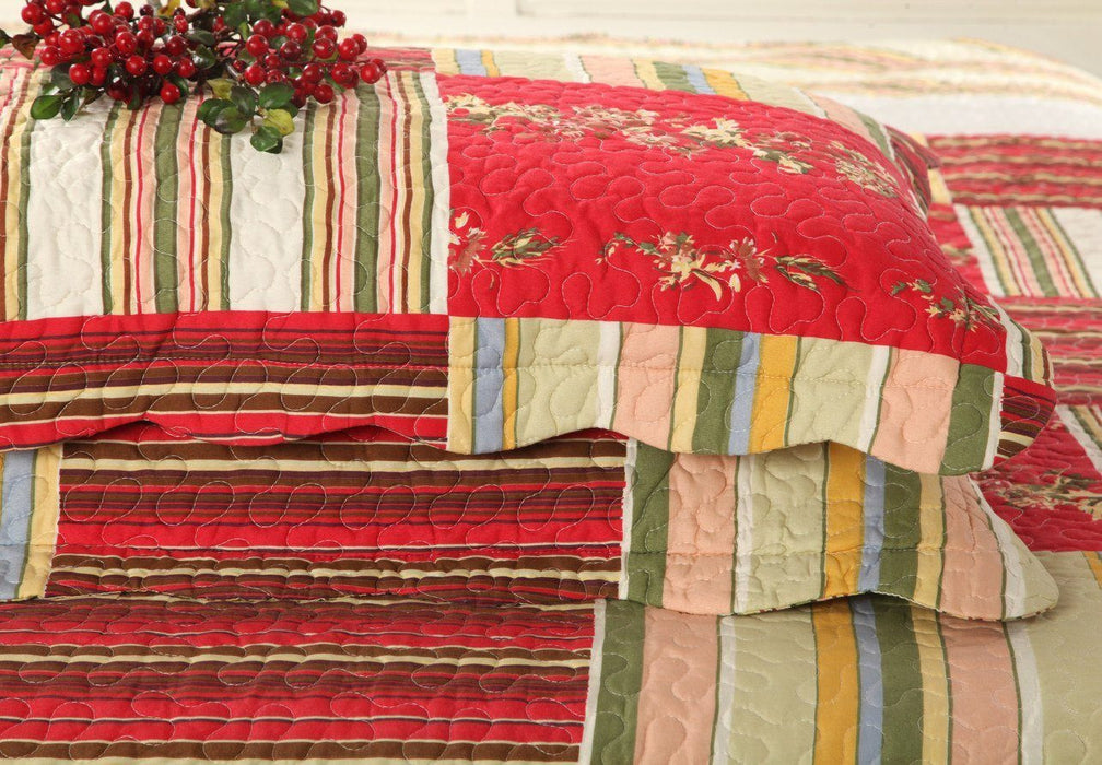 Tache Red Apple Tree Patchwork Bedspread Quilted Coverlet Set (SD8039) - Tache Home Fashion