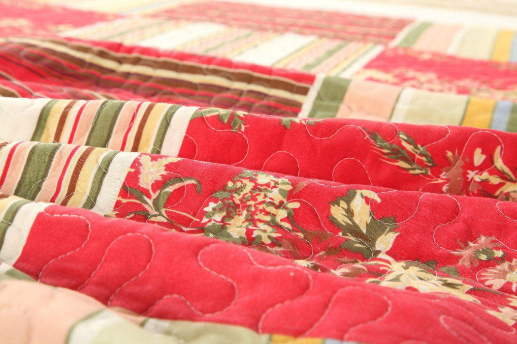 Tache Beige Red Floral Striped Scalloped Apple Tree Bedspread Set (SD8039) - Tache Home Fashion