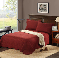 Tache Burgundy Autumn Marsala Bedspread Set (BJU018) - Tache Home Fashion