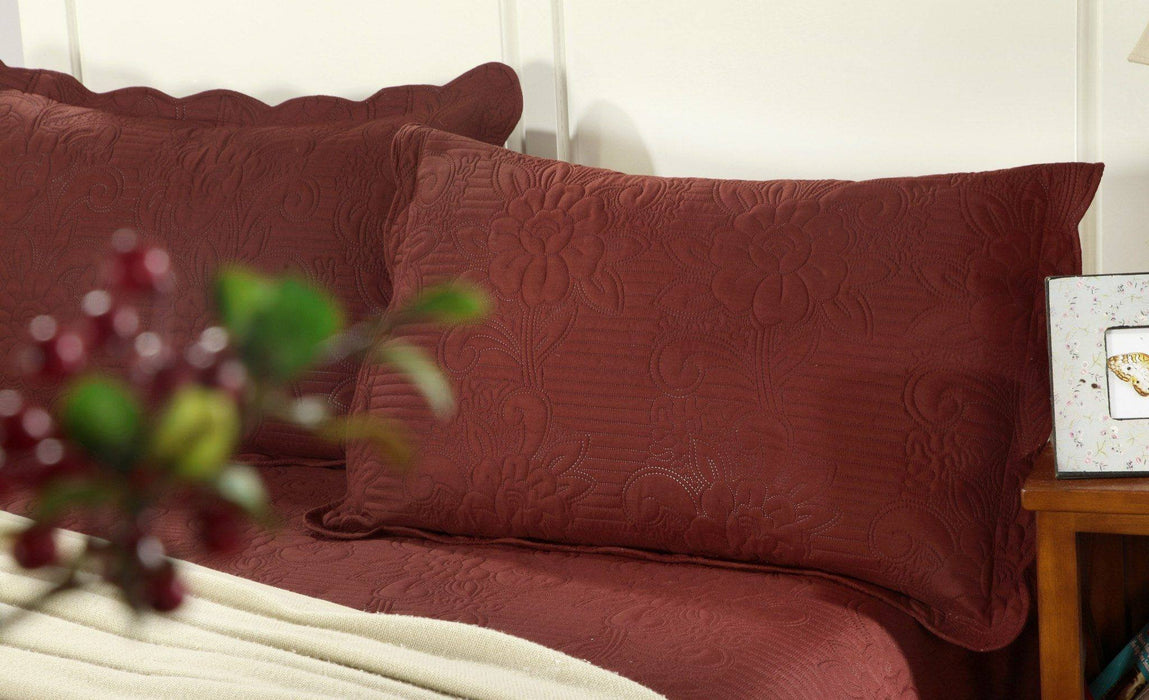 Tache 3 Piece Burgundy Autumn Marsala Bedspread Set (BJU018) - Tache Home Fashion