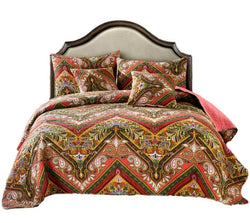 Tache Chevron Hanging Gardens Multi Color Bedspread Set (HS3148) - Tache Home Fashion