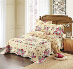 Tache Cotton Floral Spring Awakening Reversible Bedspread Quilt set (DSW013) - Tache Home Fashion