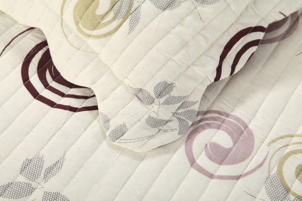 Tache Cotton Geometric Swirl Ivory White Scalloped Summer Storm Bedspread Set (DSW019) - Tache Home Fashion