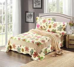 Tache Striped Floral Scalloped Rainbow Blooms Bedspread Set (CD1468) - Tache Home Fashion
