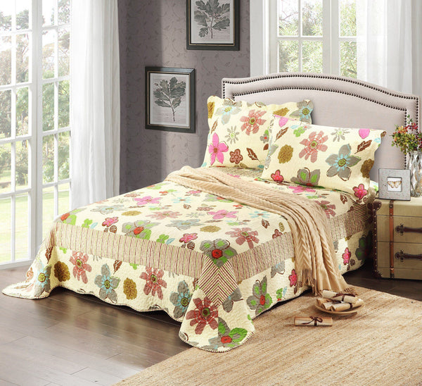 Bedspread - Tache 3 Piece Floral Rainbow Blooms Reversible Bedspread Set (CD1468)