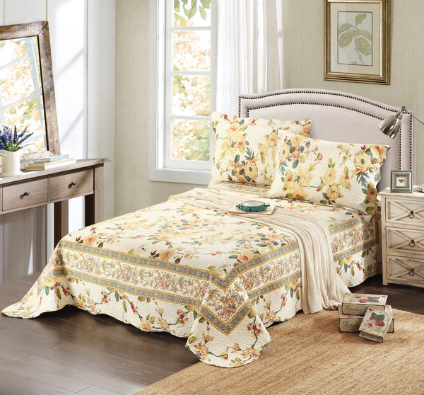 Bedspread - Tache 3 Piece Floral Yellow Summer Rose Reversible Bedspread Set
