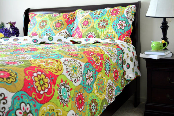 Bedspread - Tache 3 Piece Green Geometric A Leap Into Summer Reversible Bedspread Set (HS1710)