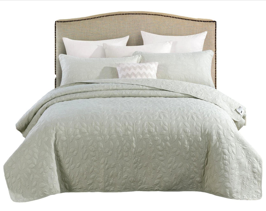 Tache Mint Sage Green Soothing Pastel Sweet Pea Matelasse Bedspread Set - Tache Home Fashion