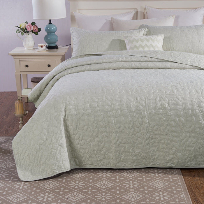 Tache Soothing Pastel Mint Sage Green Leaves Matelasse Sweet Pea Bedspread - Tache Home Fashion