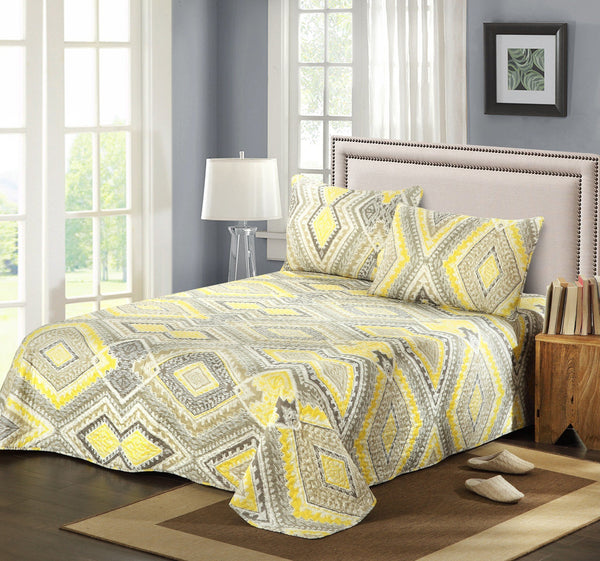 Bedspread - Tache 3 Piece Modern Yellow Summer Diamond Bedspread Set