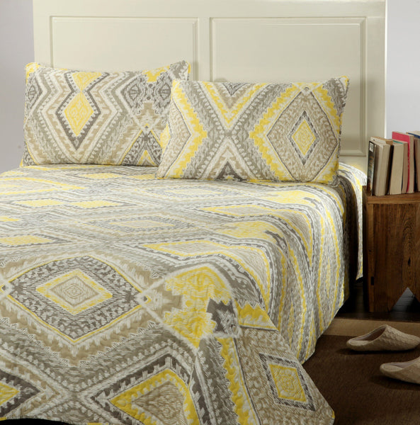 Tache 3 Piece Modern Yellow Summer Diamond Bedspread Set