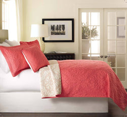 Tache Pink Coral Ivory White Paisley Damask Luxembourg Bedspread Set - Tache Home Fashion