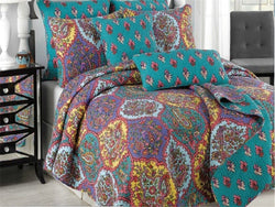 Tache 3 Piece Purple Floral Paisley Galore Reversible Bedspread Set (HS1702) - Tache Home Fashion
