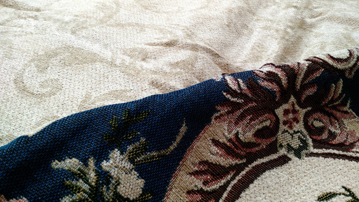 Tache Chenille Blue Garden Guardian Bedspread Set (DSC0011) - Tache Home Fashion