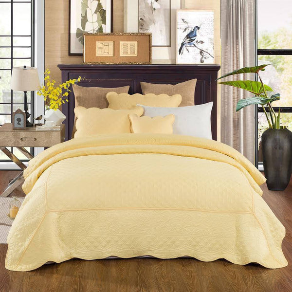 Bedspread - Tache 5 Piece Soild Yellow Quilted Buttercup Puffs Bedspread Set