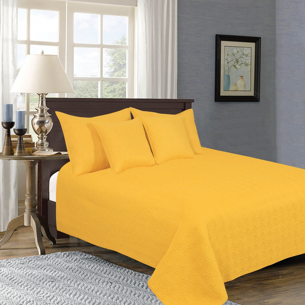 Bedspread - Tache 5 Piece Solid Yellow Brick Road Bedspread Set