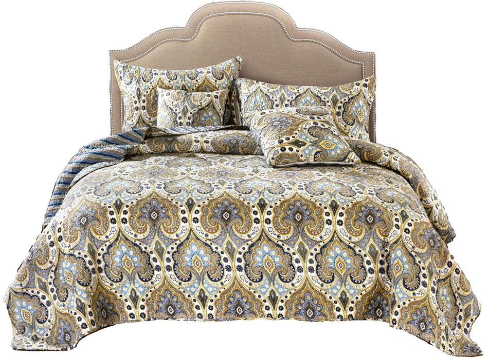 Tache Bohemian Spades Quilted Coverlet Bedspread Set (SD-42) - Tache Home Fashion