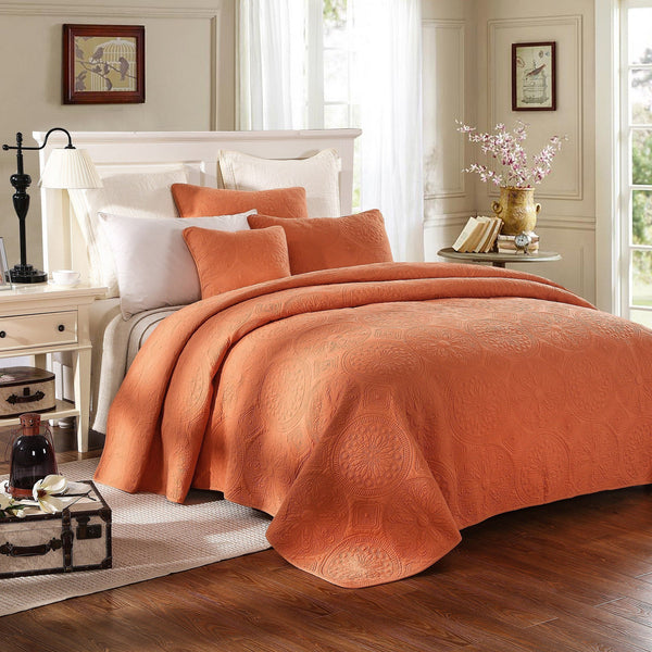 Bedspread - Tache Cotton Solid Tuscany Sunrise 2-3 Piece Orange Floral Bedspread Set