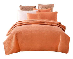 Tache Cotton Solid Tuscany Sunrise 2-3 Piece Orange Floral Bedspread Set (JHW-595) - Tache Home Fashion