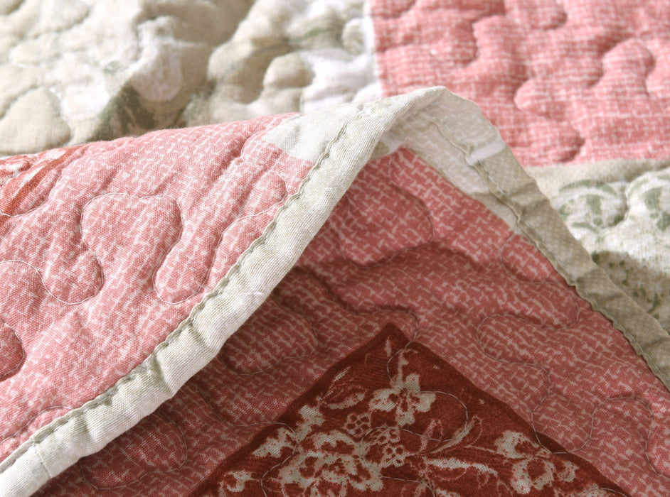 Tache Floral Valentine's Hearts Gray Pink Scalloped Dainty Sweetheart Bedspread (SD-17007) - Tache Home Fashion