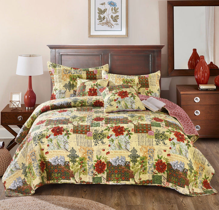 Tache Festive the Holly and the Ivy Patchwork Quilted Coverlet Bedspread Set (SD-29) - Tache Home Fashion