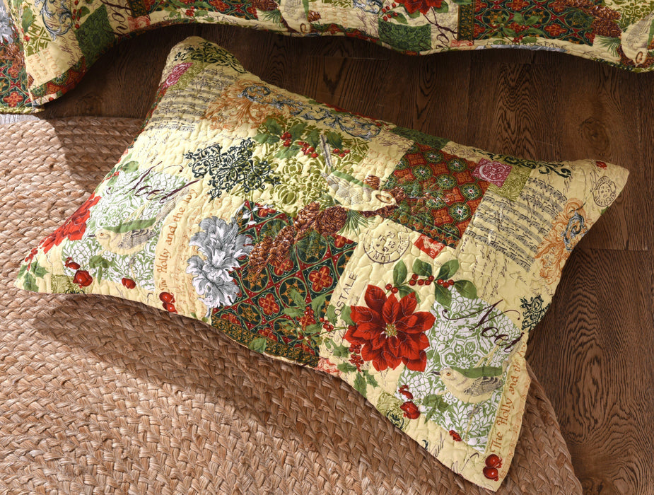 Tache Holiday Festive Beige Red Poinsettia Holly and Ivy Bedspread Set (SD-29) - Tache Home Fashion