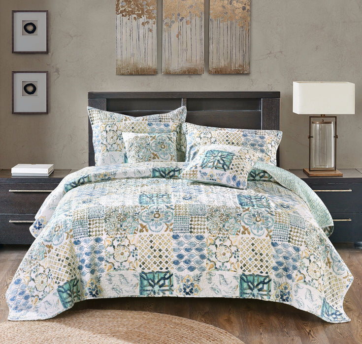 Bedspread - Tache Watercolor Spring Time Patchwork Quilted Coverlet Bedspread Set (SD-56)