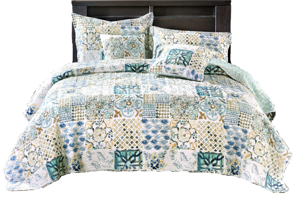 Tache Watercolor Spring Time Patchwork Quilted Coverlet
