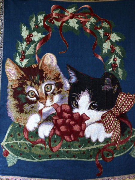 Blanket/ Throw - Tache 1 Piece 50 X 60 Kitty's First Christmas Tapestry Throw