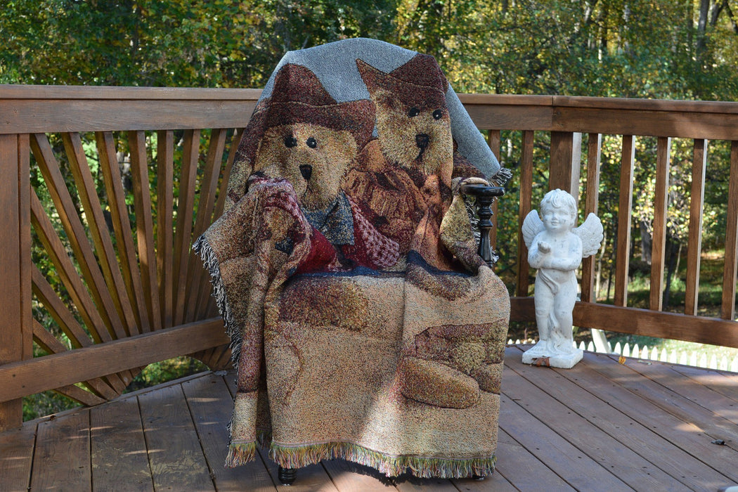 Tache Teddy Bear Western Cowboy Tapestry Throw with Fringe (2173) - Tache Home Fashion
