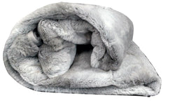 Tache Gray Plush Rabbit Faux Fur Throw Blanket (Rabbit) - Tache Home Fashion