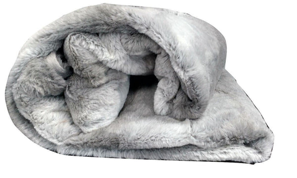 Blanket/ Throw - Tache  50 X 60 IN Striped Grey Plush Rabbit Faux Fur Throw Blanket