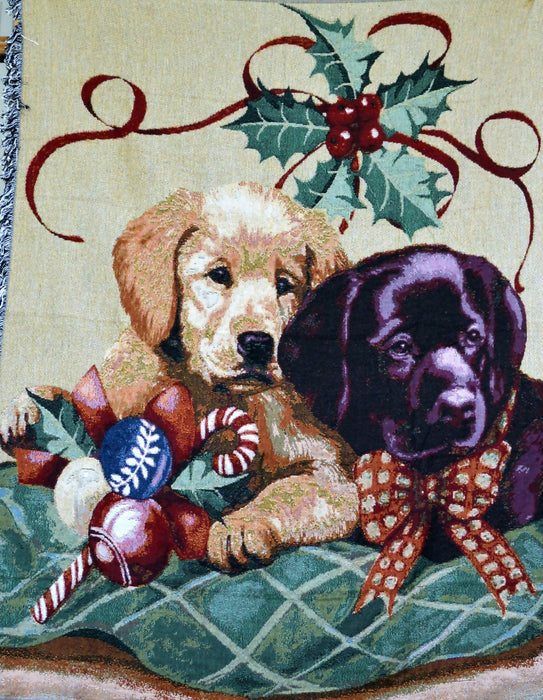 Tache Puppy's First Christmas Tapestry Throw Blanket 50 x 60 (1367) - Tache Home Fashion