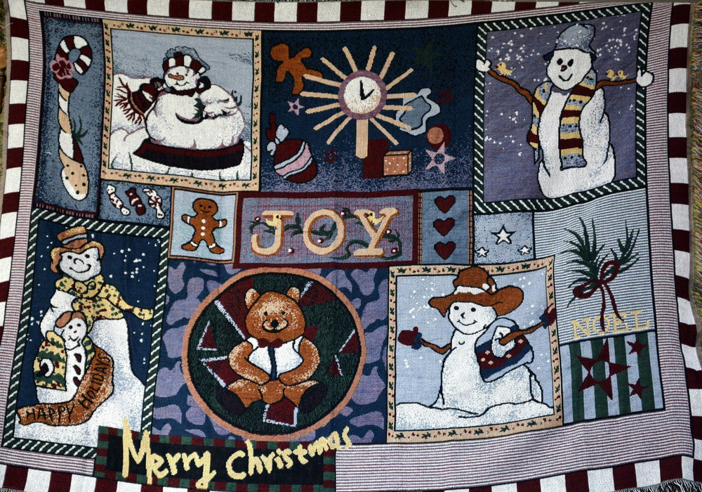 Tache Wonderful Season Snowman Tapestry Throw with Fringe (2270) - Tache Home Fashion