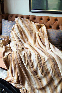 Tache Brown European Brown Wolf Faux Fur Throw Blanket (DY13) - Tache Home Fashion