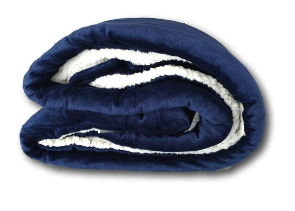 Blanket/ Throw - Tache Dark Navy Blue Sherpa Winter Night Micro Fleece Throw Blanket
