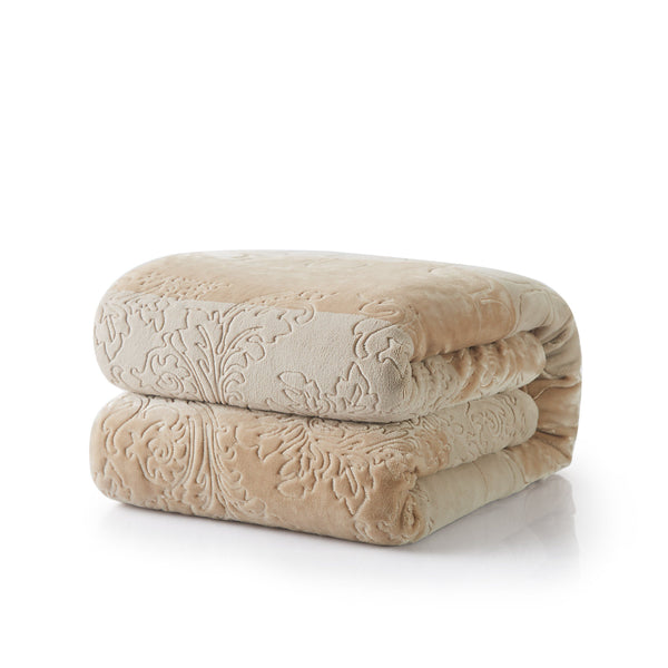 Blanket/ Throw - Tache Embossed Bubbly Champagne Beige Sherpa Throw Blanket