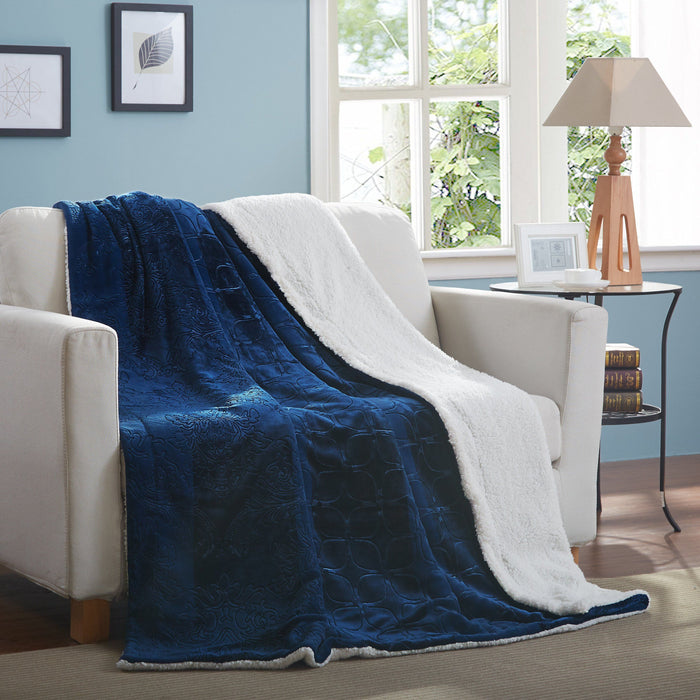 Tache Solid Embossed Cozy Night Blue Sherpa Throw Blanket (62093) - Tache Home Fashion