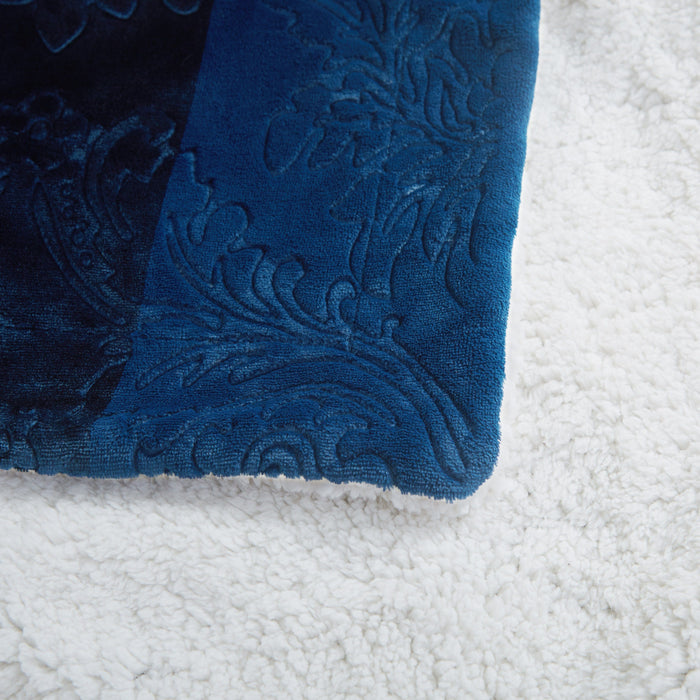 Blanket/ Throw - Tache Embossed Cozy Night Blue Sherpa Throw Blanket