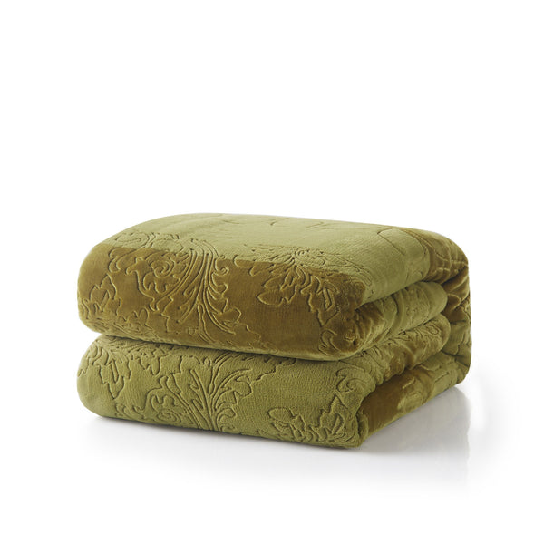 Blanket/ Throw - Tache Embossed Green Olive Sherpa Throw Blanket