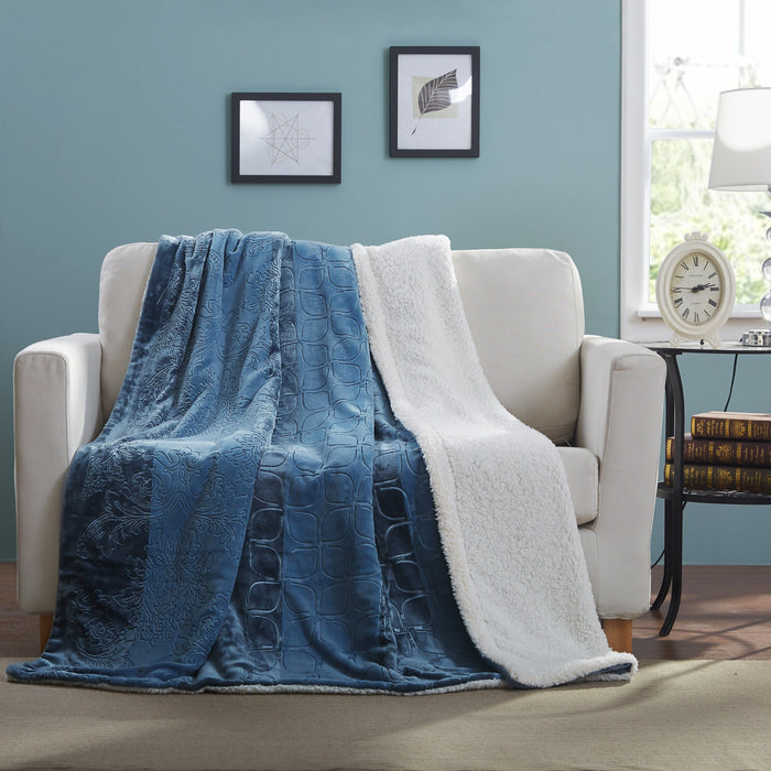 Tache Solid Embossed Rainy Day Grey Sherpa Throw Blanket (62090) - Tache Home Fashion