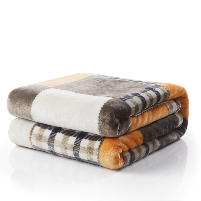 Tache Orange Fall Farmhouse Super Soft Plaid Patchwork Throw Blanket (4021) - Tache Home Fashion