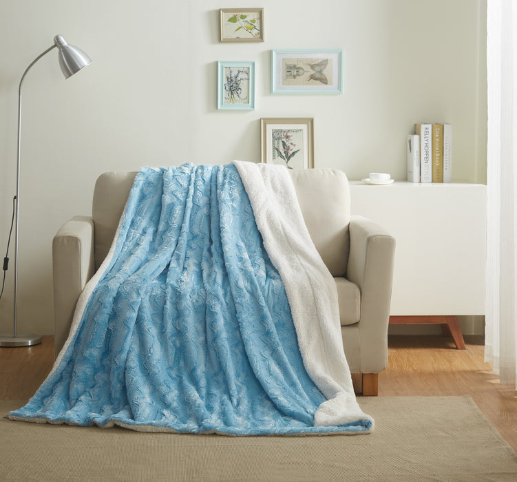 Tache Faux Fur Blue Sky Soft Throw Blanket (#8) - Tache Home Fashion