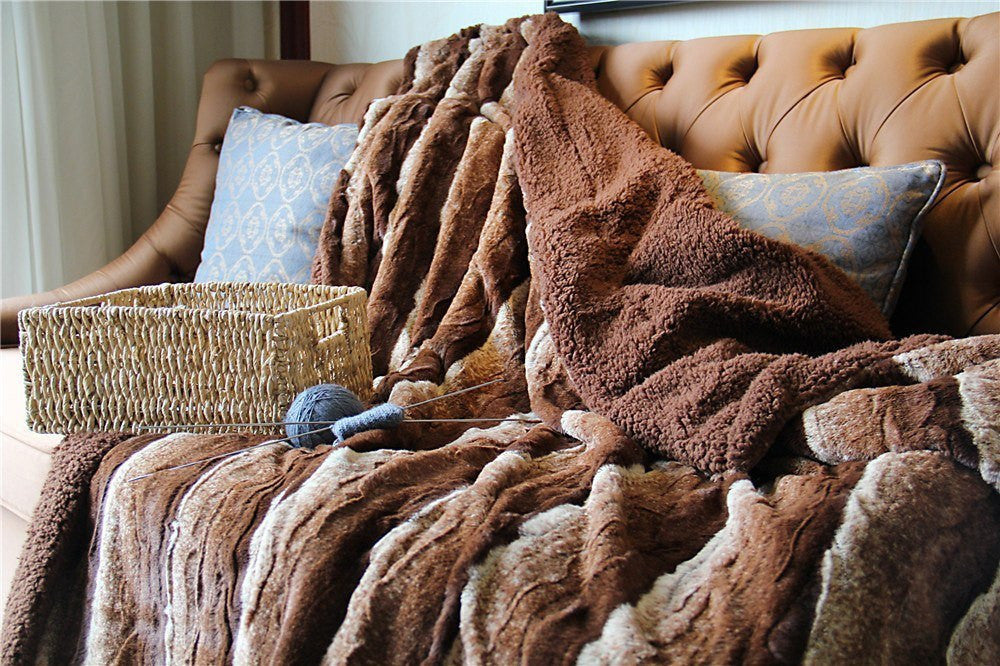 Blanket/ Throw - Tache Golden Faux Fur Sherpa Throw Blanket