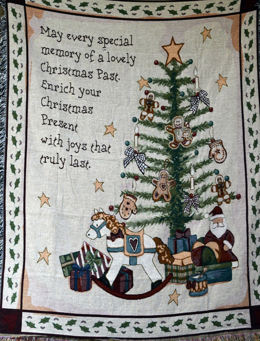 Tache Merry Christmas Tree Morning Tapestry Throw with Fringe (2271) - Tache Home Fashion