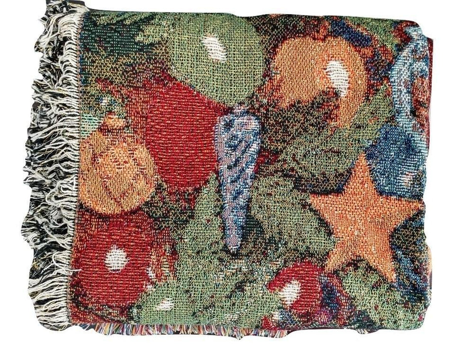 Tache Festive Christmas Old St Nick Tapestry Throw with Fringe (3340) - Tache Home Fashion