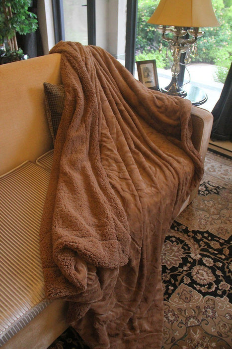 Blanket/ Throw - Tache Super Soft Brown Wild Chocolate Falls Faux Fur Sherpa Throw Blanket