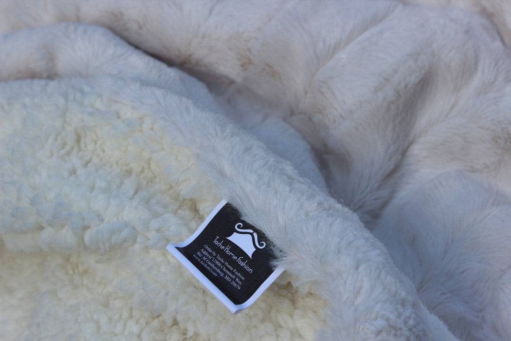 Blanket/ Throw - Tache White Ivory Polar Faux Fur With Sherpa Throw Blanket