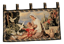 Tache 43 x 23 Mother and Child in Garden Woven Tapestry Wall Hanging (13242) - Tache Home Fashion
