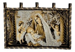Tache 28 x 47 Inch Woven Gold Christ Among the Blossoms Tapestry Wall Hanging (WH-DA13253) - Tache Home Fashion